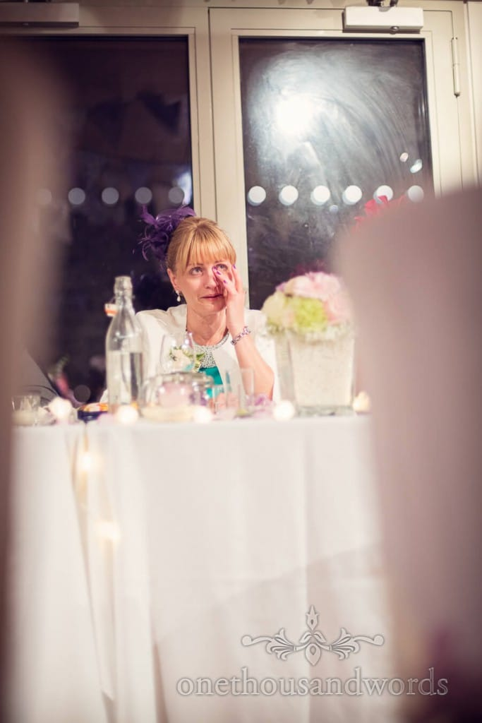 Mother of the bride cries during wedding speeches