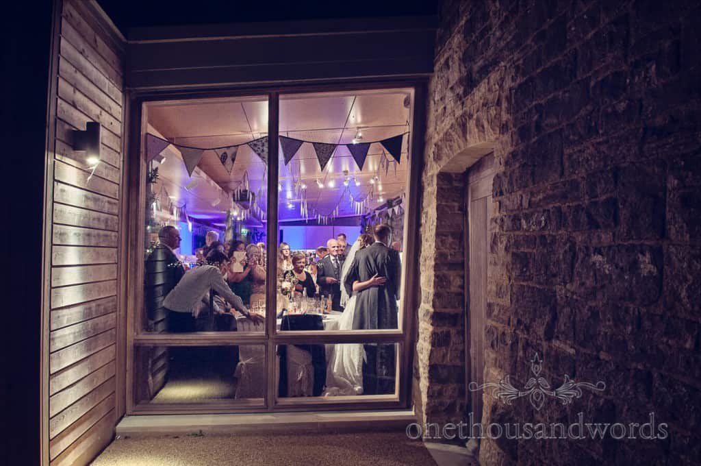 Seaside Wedding Photographs evening reception at Durlston Castle wedding