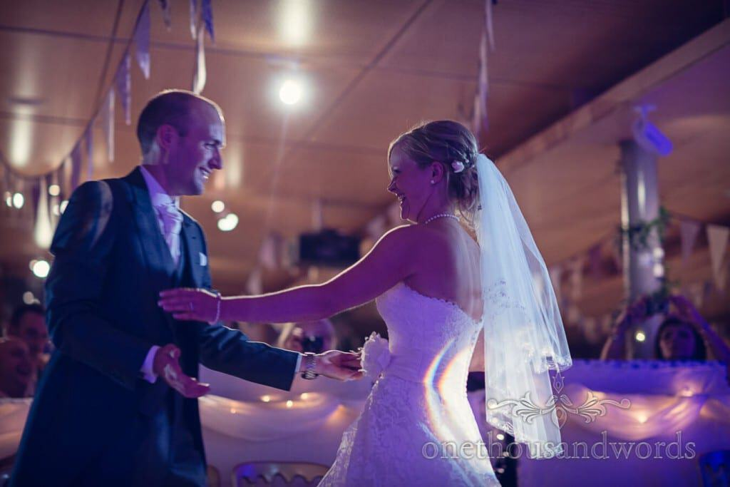 Bride and groom first dance at Durlston Castle wedding venue in Dorset