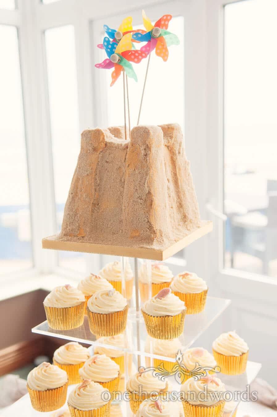 Sandcastle Wedding Cake with ice cream cupcakes