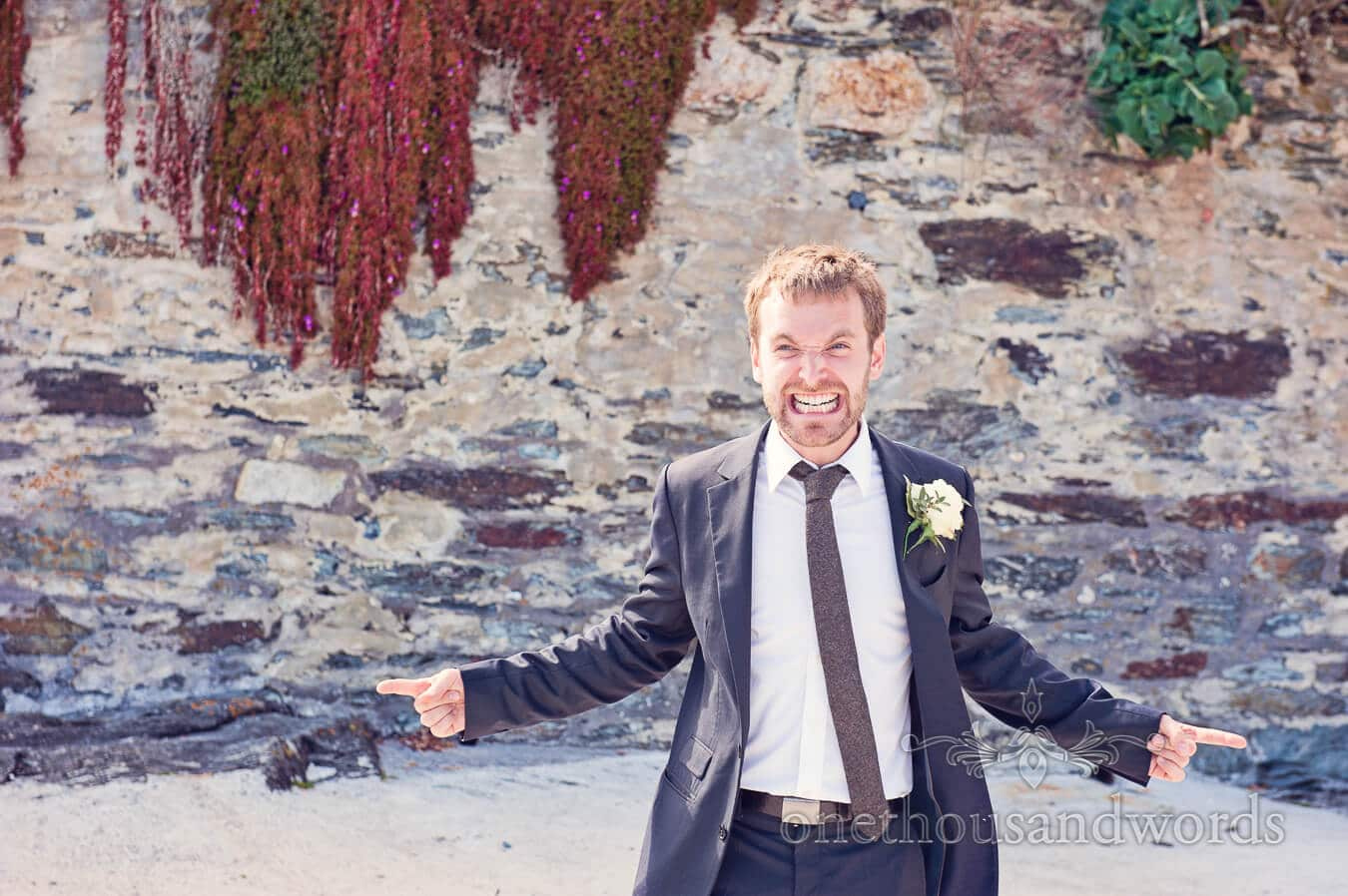 Best man pretends to be angry at Prussia Cove Wedding