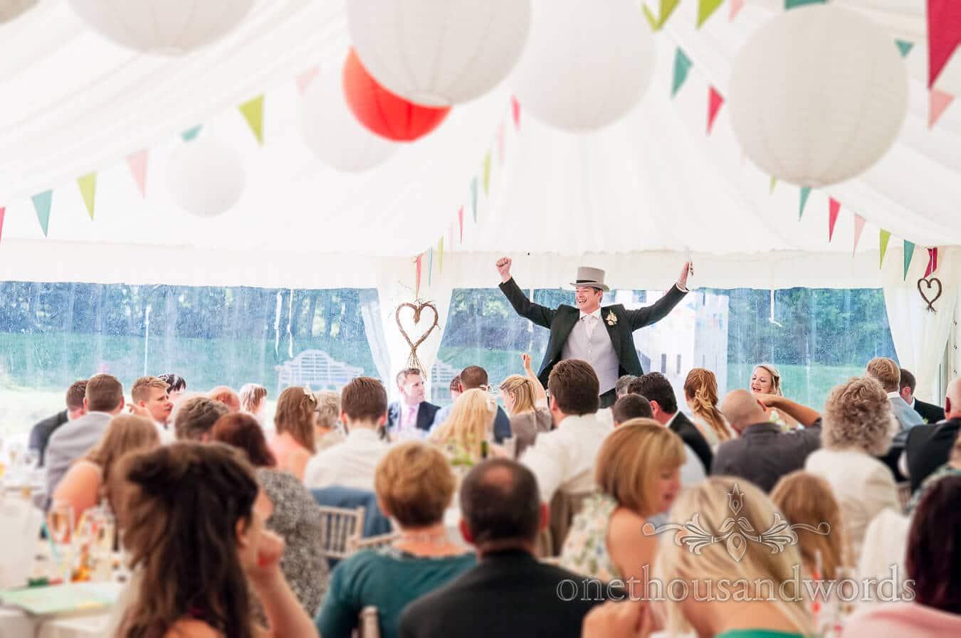 Best Man's Speech in wedding marquee at Dorset home wedding