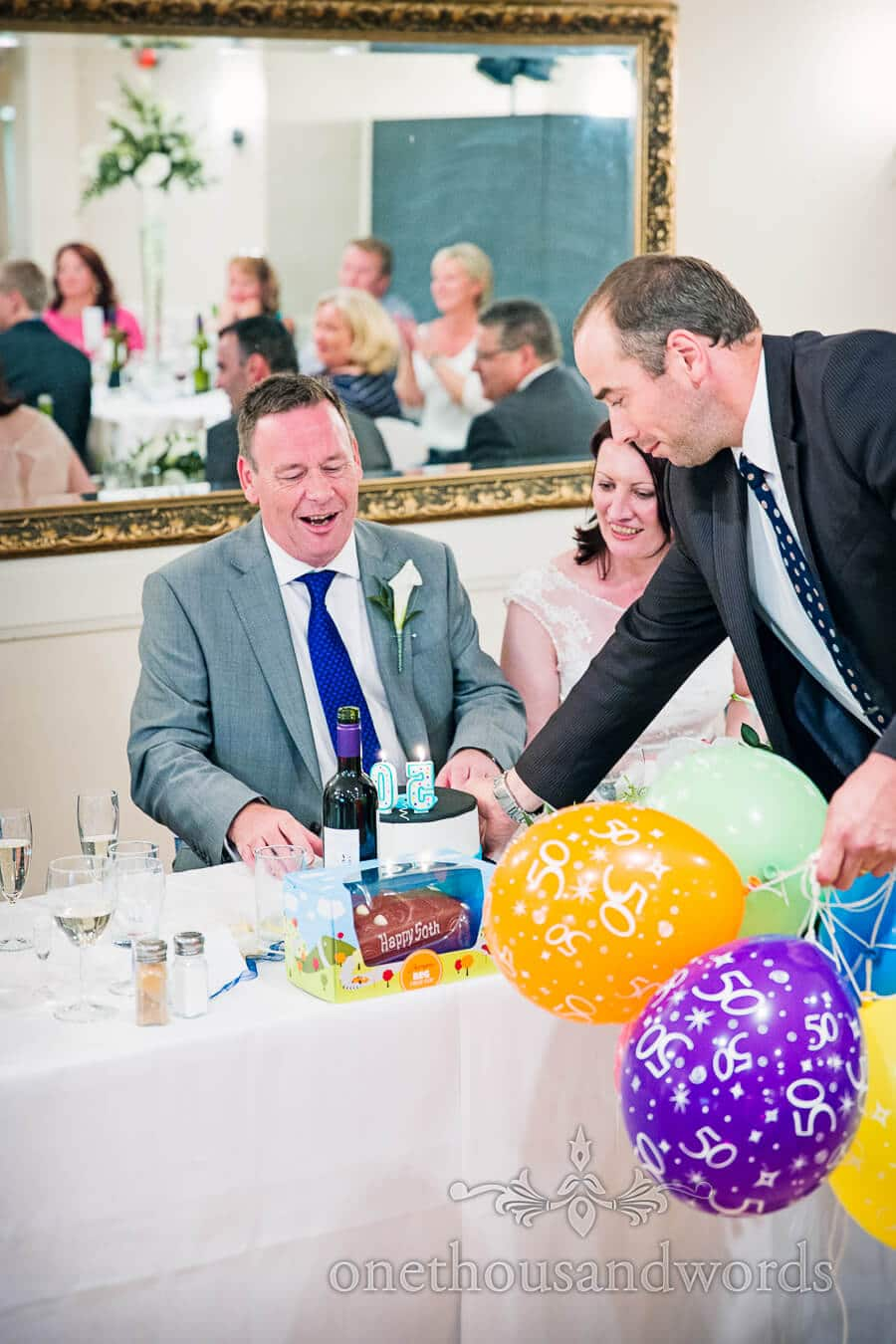 Birthday cake at Salterns Hotel Wedding breakfast
