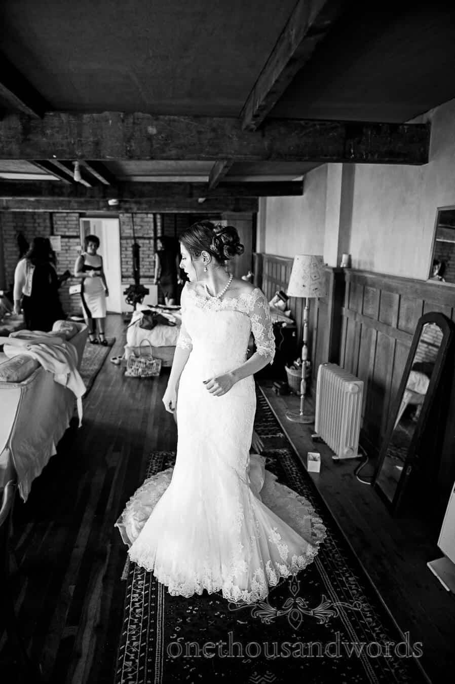 Black and white wedding photography of bride at Prussia Cove Wedding