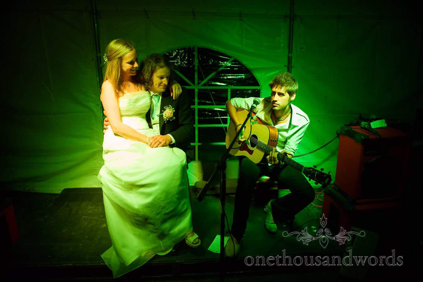 Bride and groom are serenaded at their Countryside Wedding