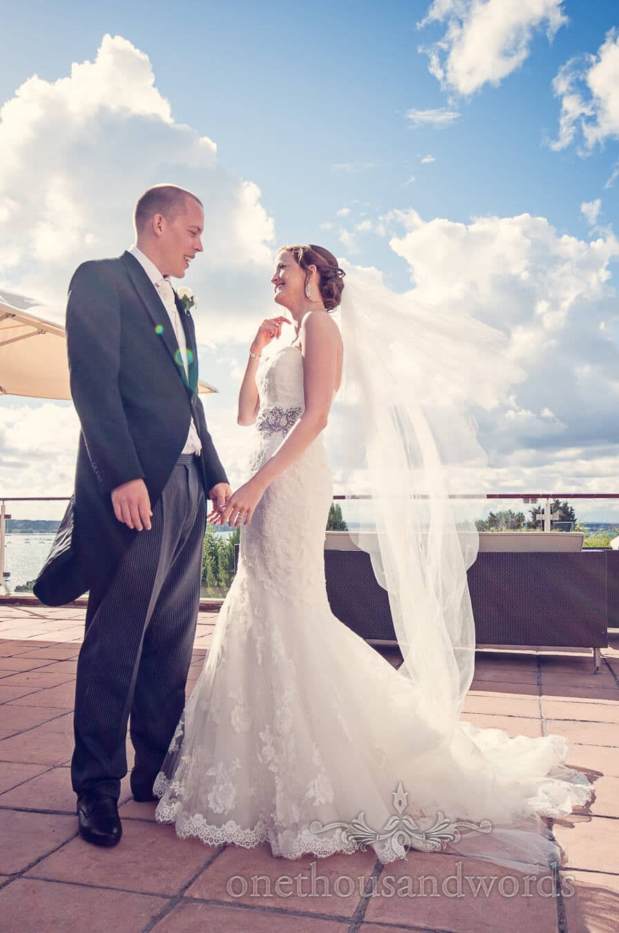 Bride and groom at Harbour Heights Poole wedding venue