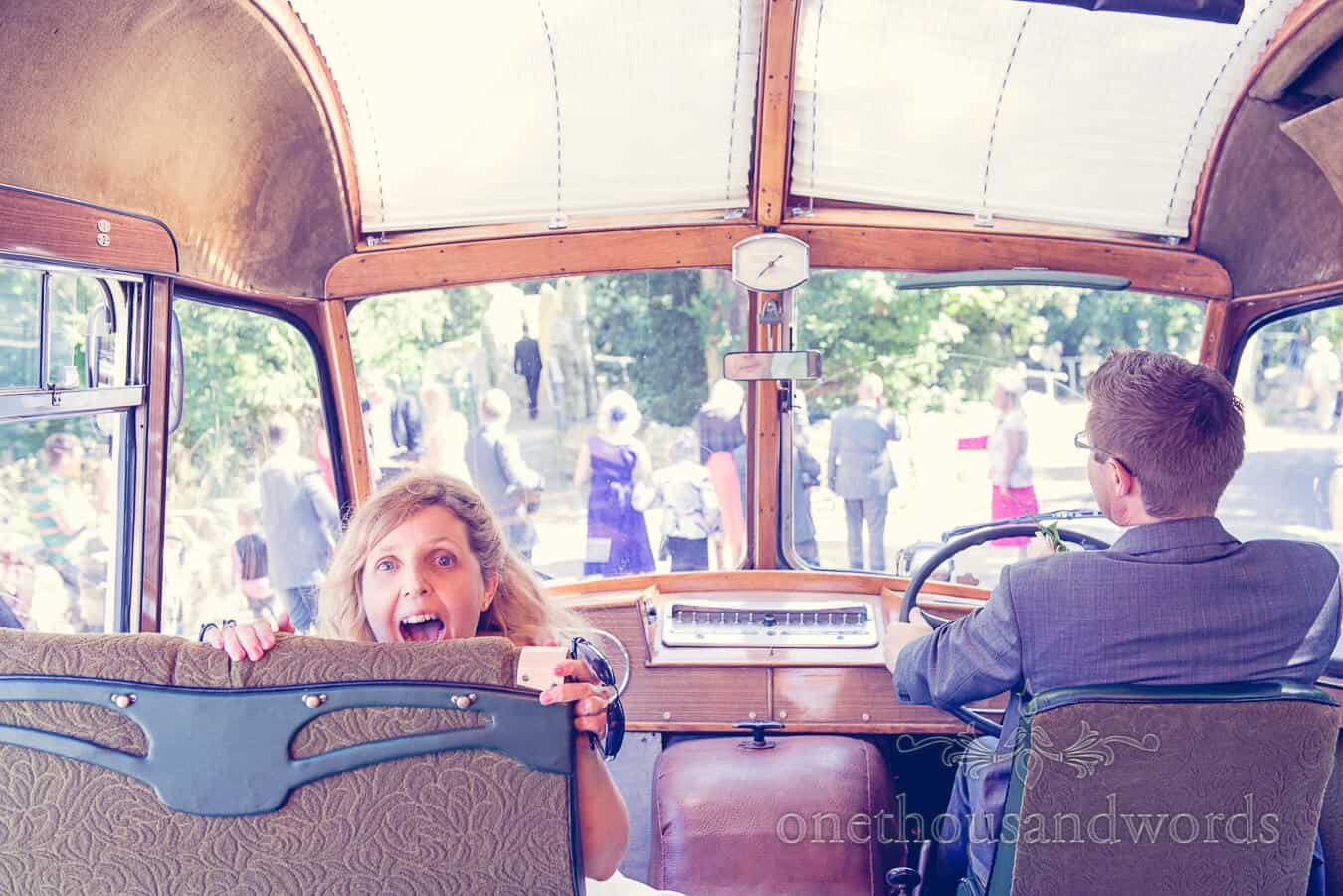Bride and groom drive Vintage Style Wedding bus