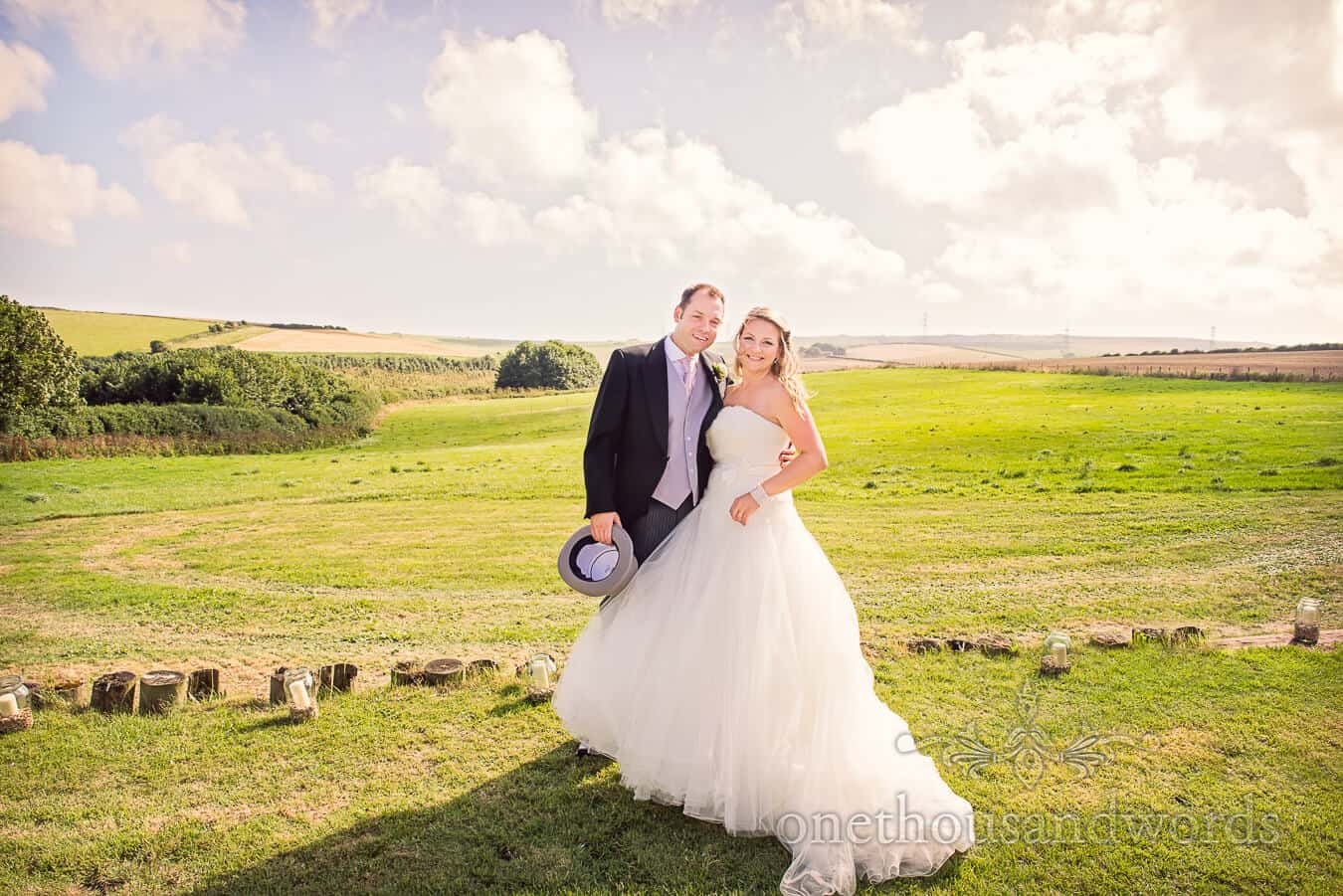 Bride and groom in countryside at Dorset Home Wedding