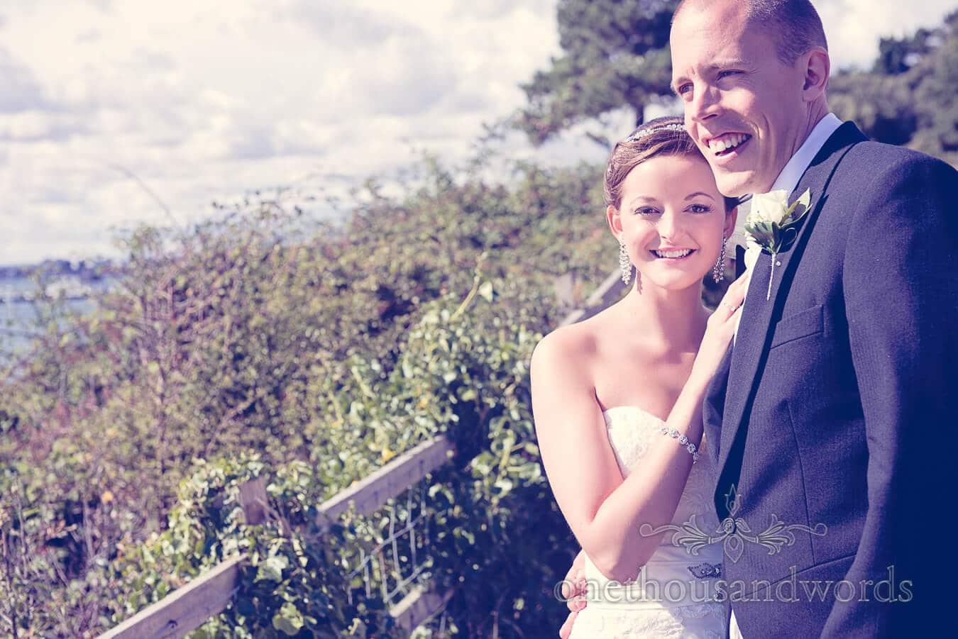 Bride and groom overlooking Poole wedding venue