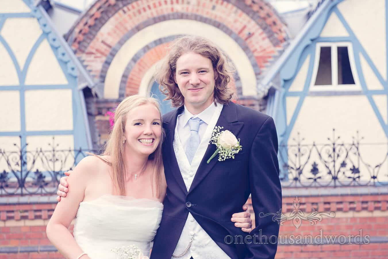 Bride and groom portrait outside Tenbury Wells Pump Room wedding venue