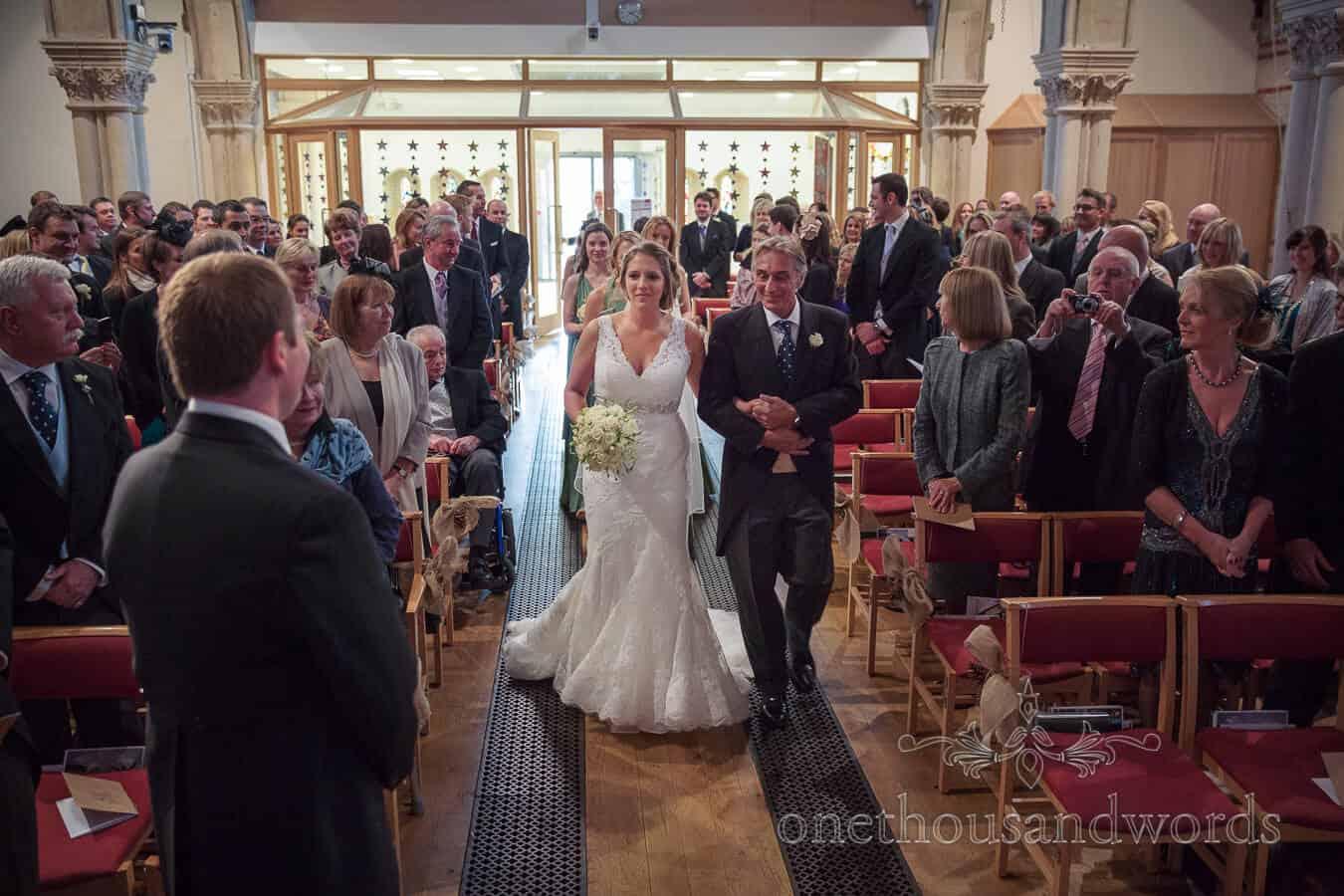 Bride Arrives at Richmond Church Wedding Ceremony
