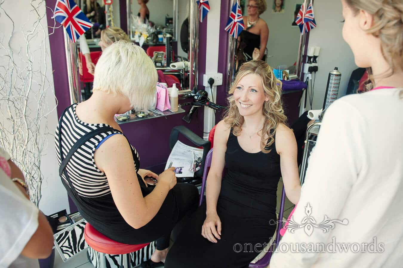 Bride has wedding makeup styled in Christchurch, Dorset