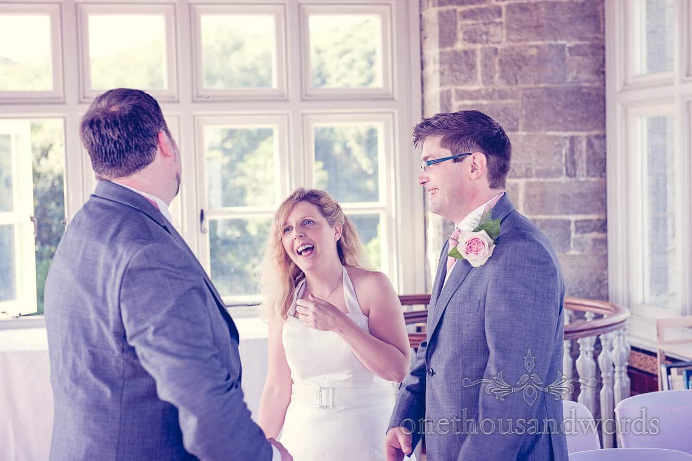 Bride Laughing at Castle civil wedding ceremony in Dorset