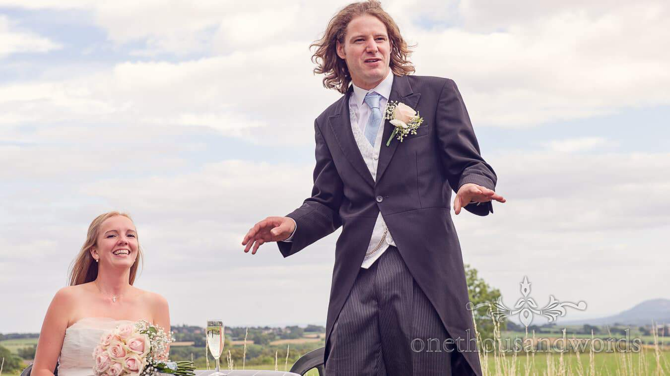 Bride laughs at Groom's speech at Countryside Wedding