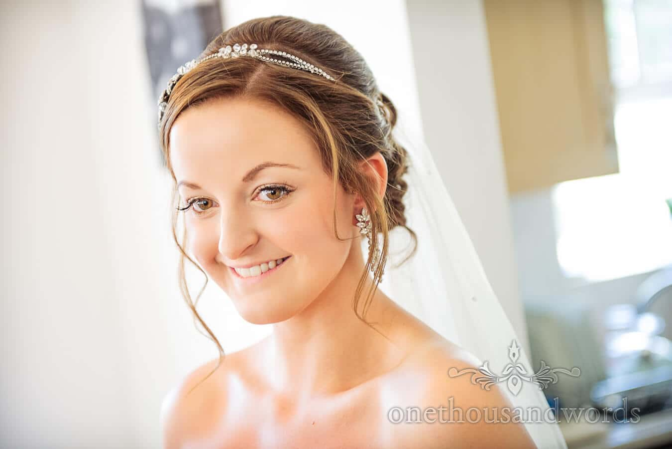 Bride prepares on wedding morning for wedding at Poole wedding venue