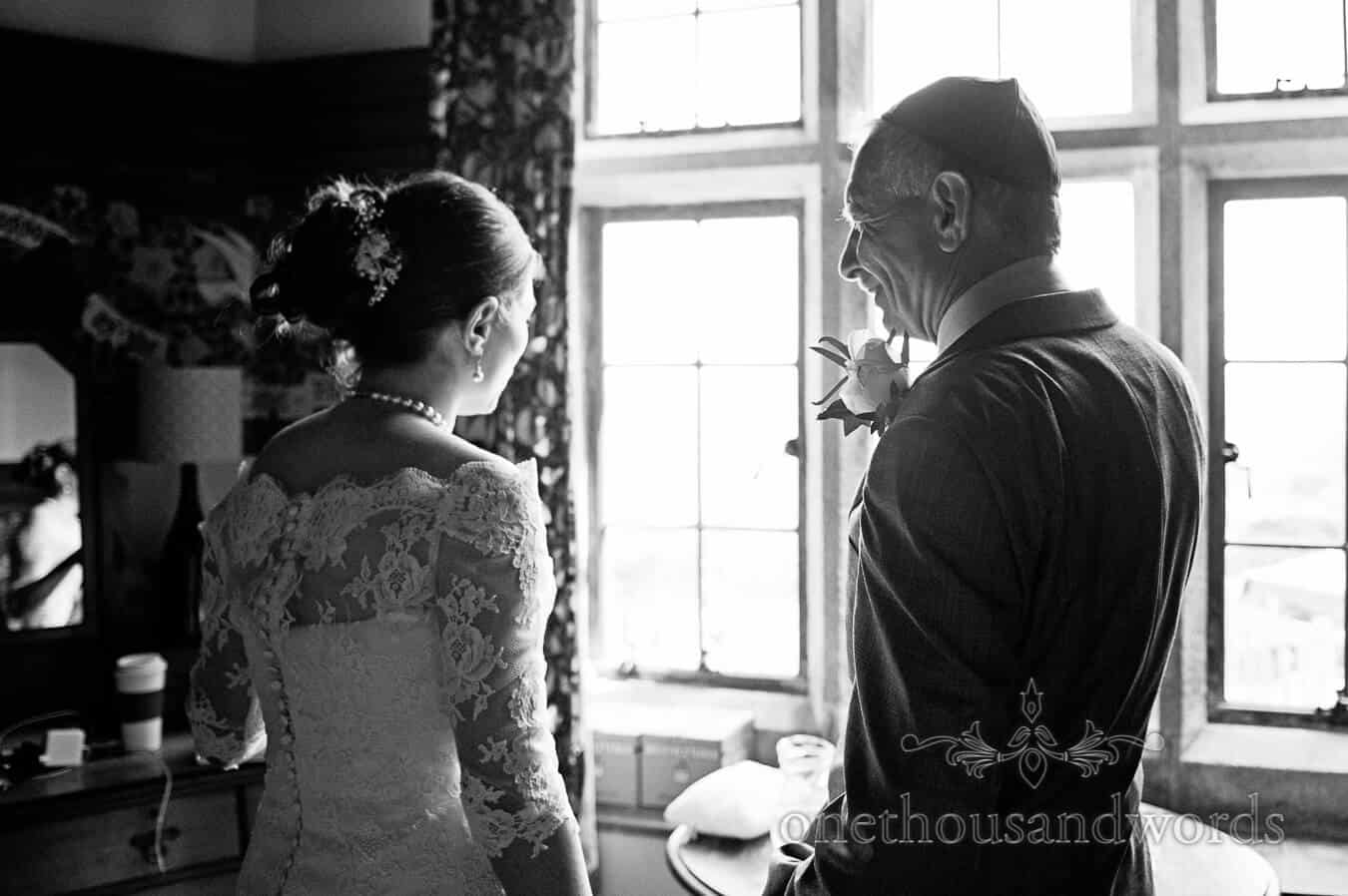 Bride talks with her father at Prussia Cove Wedding