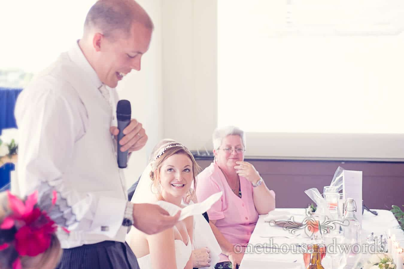 Bride's reaction to groom's speech at Poole wedding venue speeches