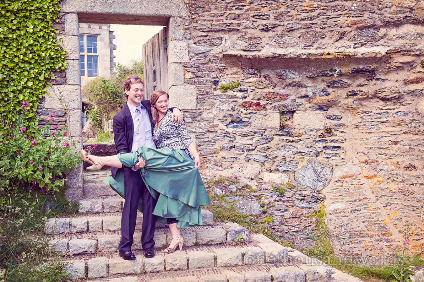 Bridesmaid and partner at Prussia Cove Wedding