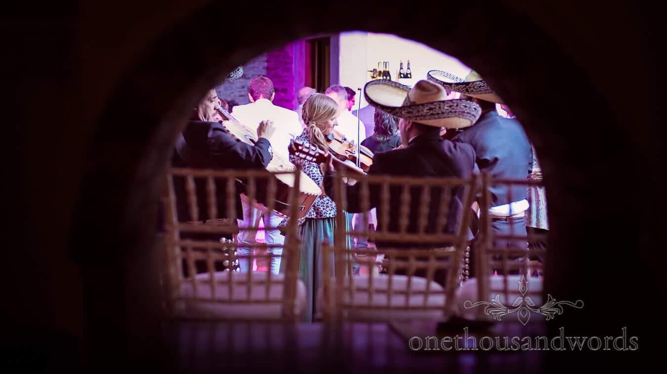 Bridesmaid plays violin with mariachi band at Prussia Cove Wedding
