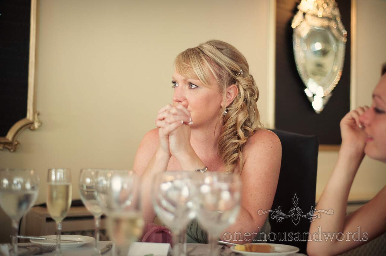 Bridesmaid reacts to wedding speeches in Lord Bute wedding photographs
