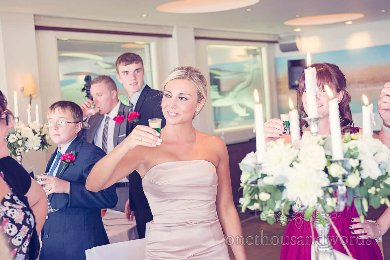 Bridesmaid toasts wedding speeches with a Squashed Frog Shot