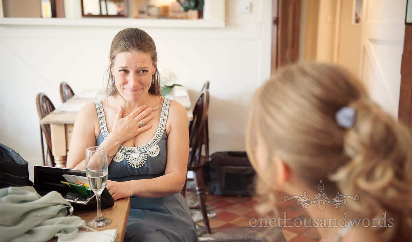 Bridesmaids reaction to bride practicing her wedding speech