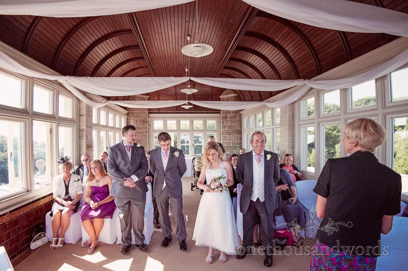 Civil wedding service at Vintage Style Wedding in Durlston Castle, Dorset