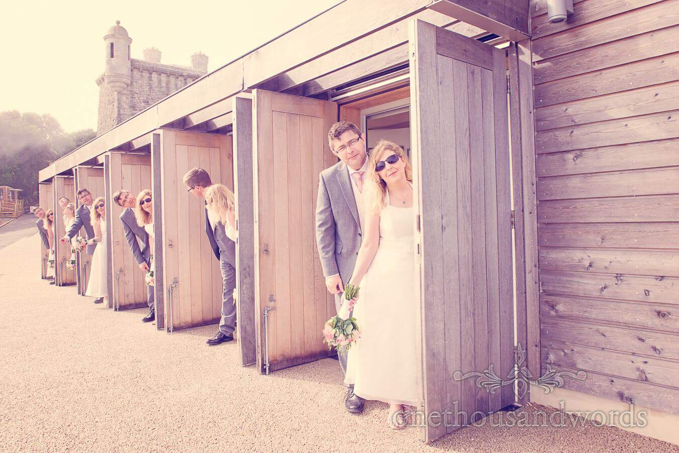 Clone the bride and groom at Durlston Castle Vintage Style Wedding