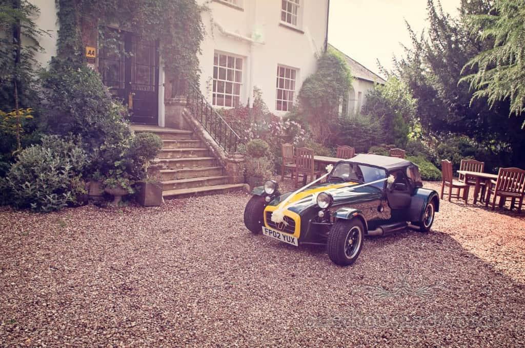 Super 7 weddign car at countryside themed wedding
