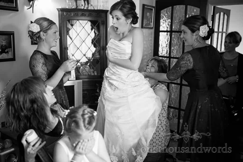Black and white documentary wedding photograph by one thousand words