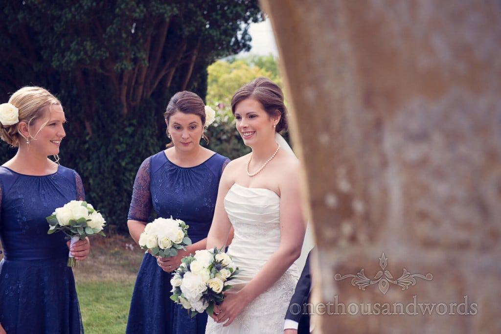 Bride arrives at countryside themed wedding church ceremony
