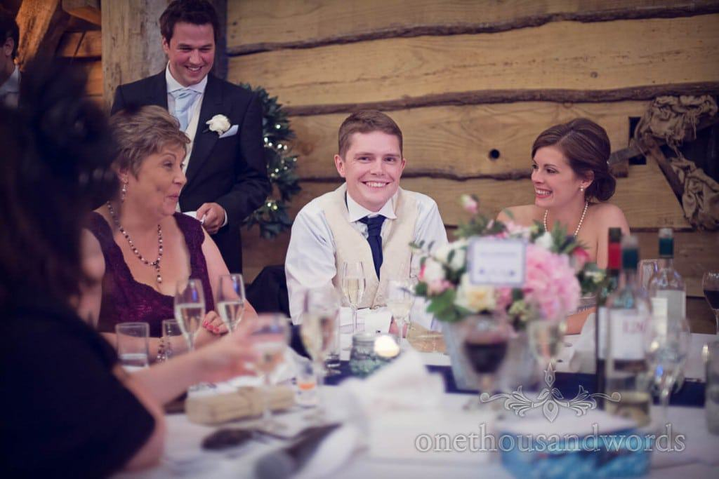 Groom cringes during funny countryside themed wedding speeches