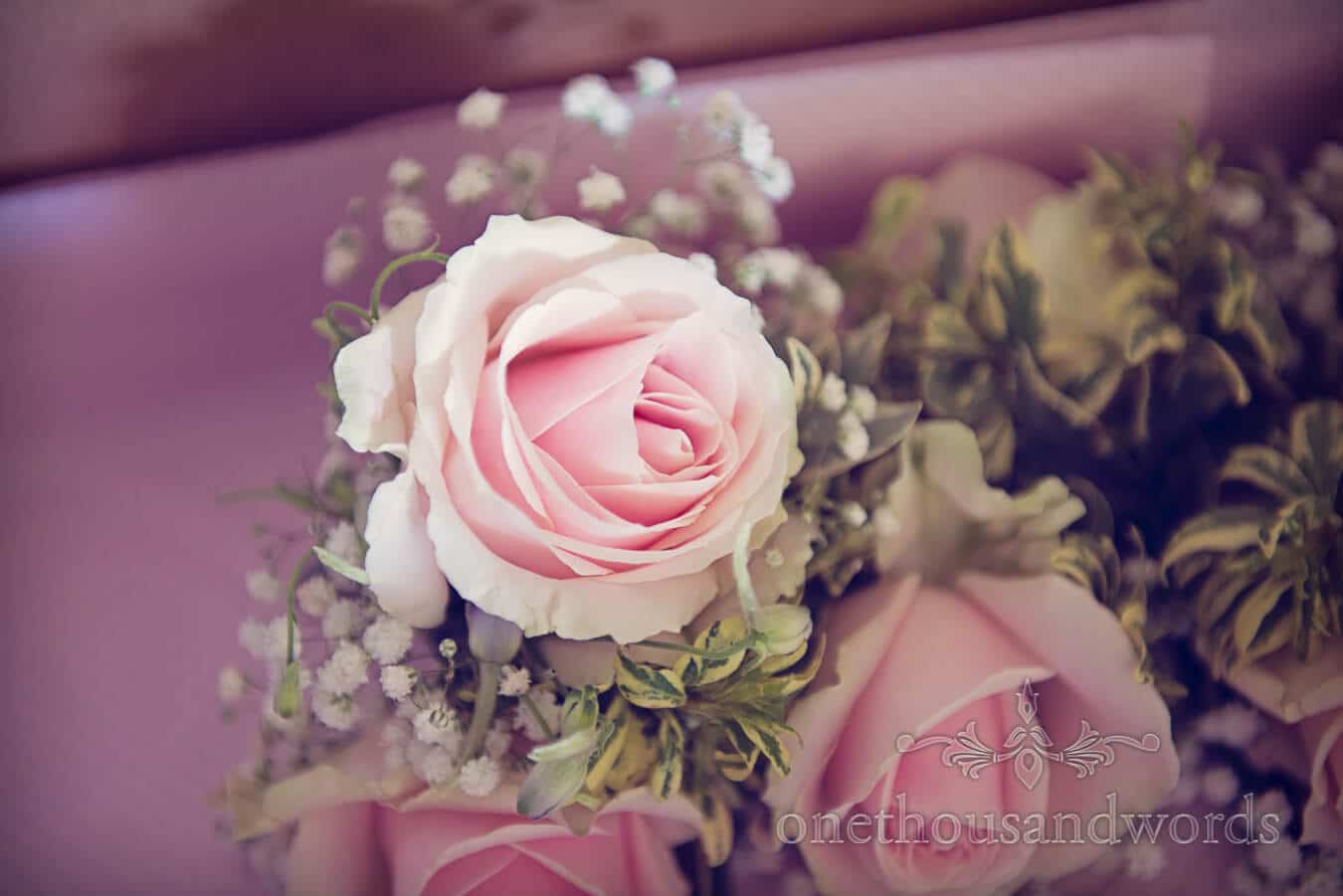 Countryside Wedding fowers - pink roses with gypsophila