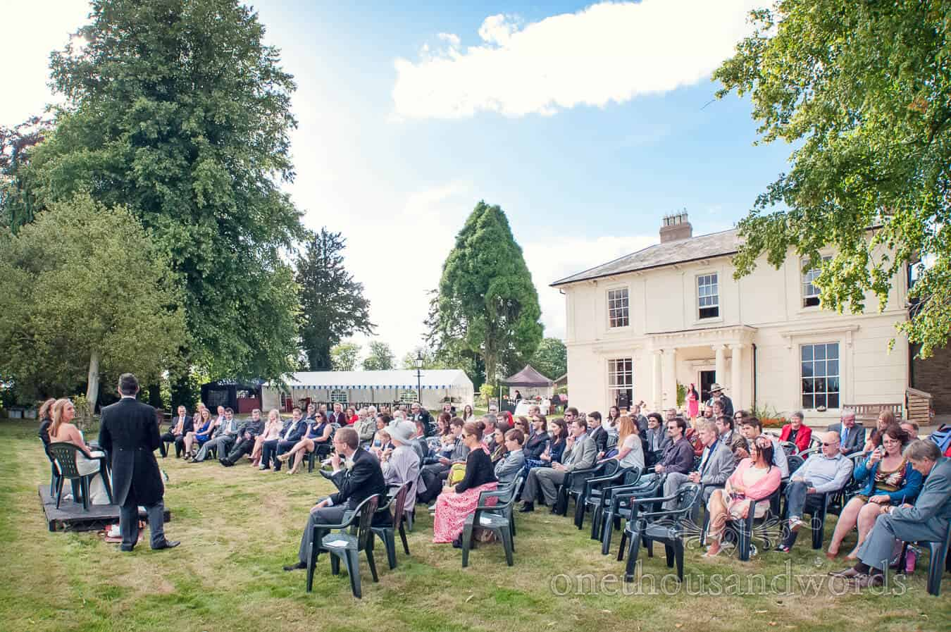 Countryside Wedding Speeches at home in country house gardens