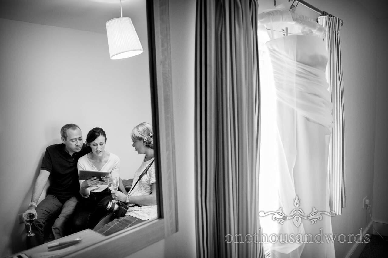 Documentary wedding photograph of bridesmaids on wedding morning