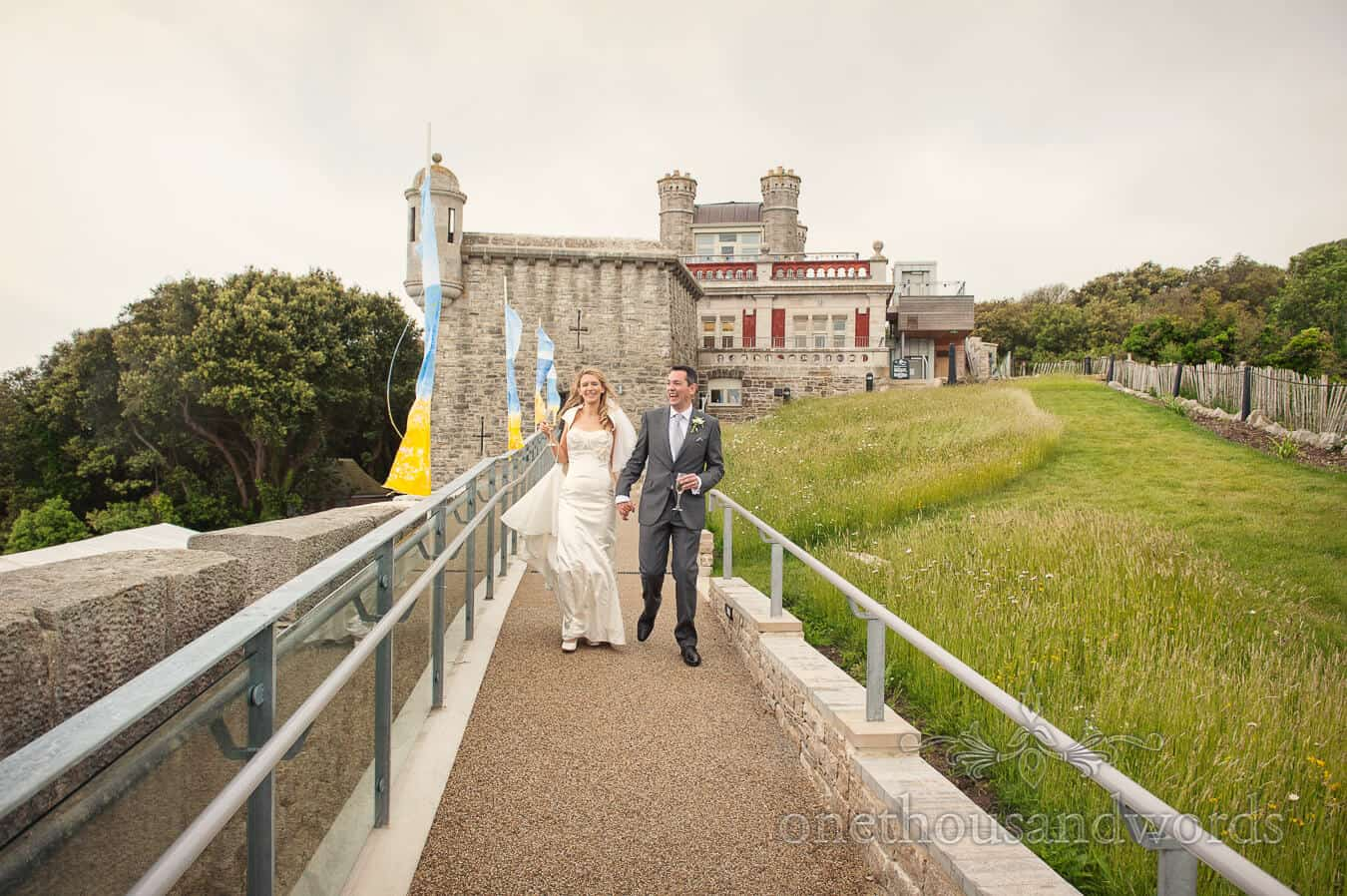 Durlston Castle Wedding Photography of bride and groom