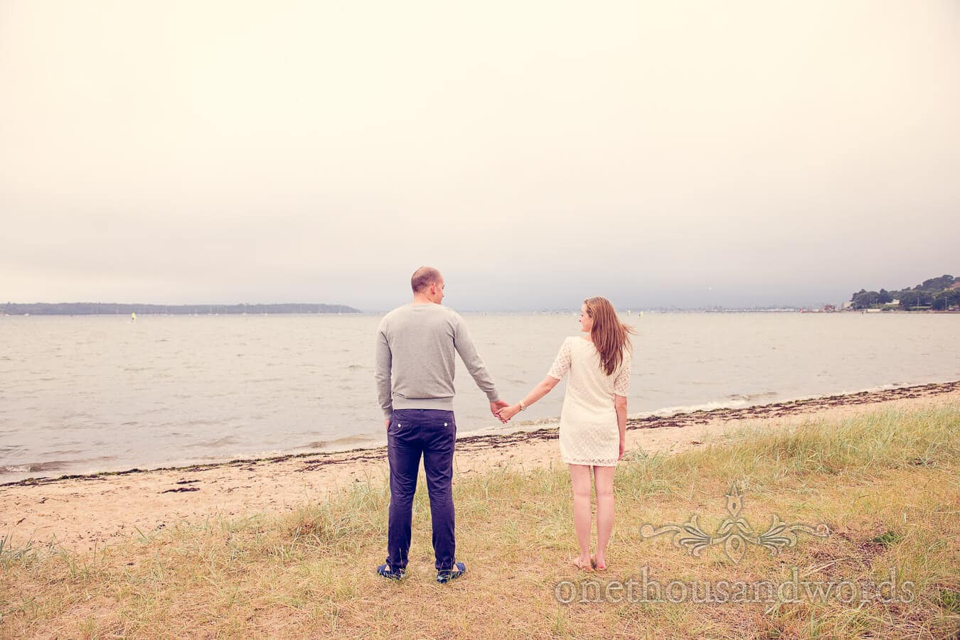 Engagment photographs overlooking Poole Harbour