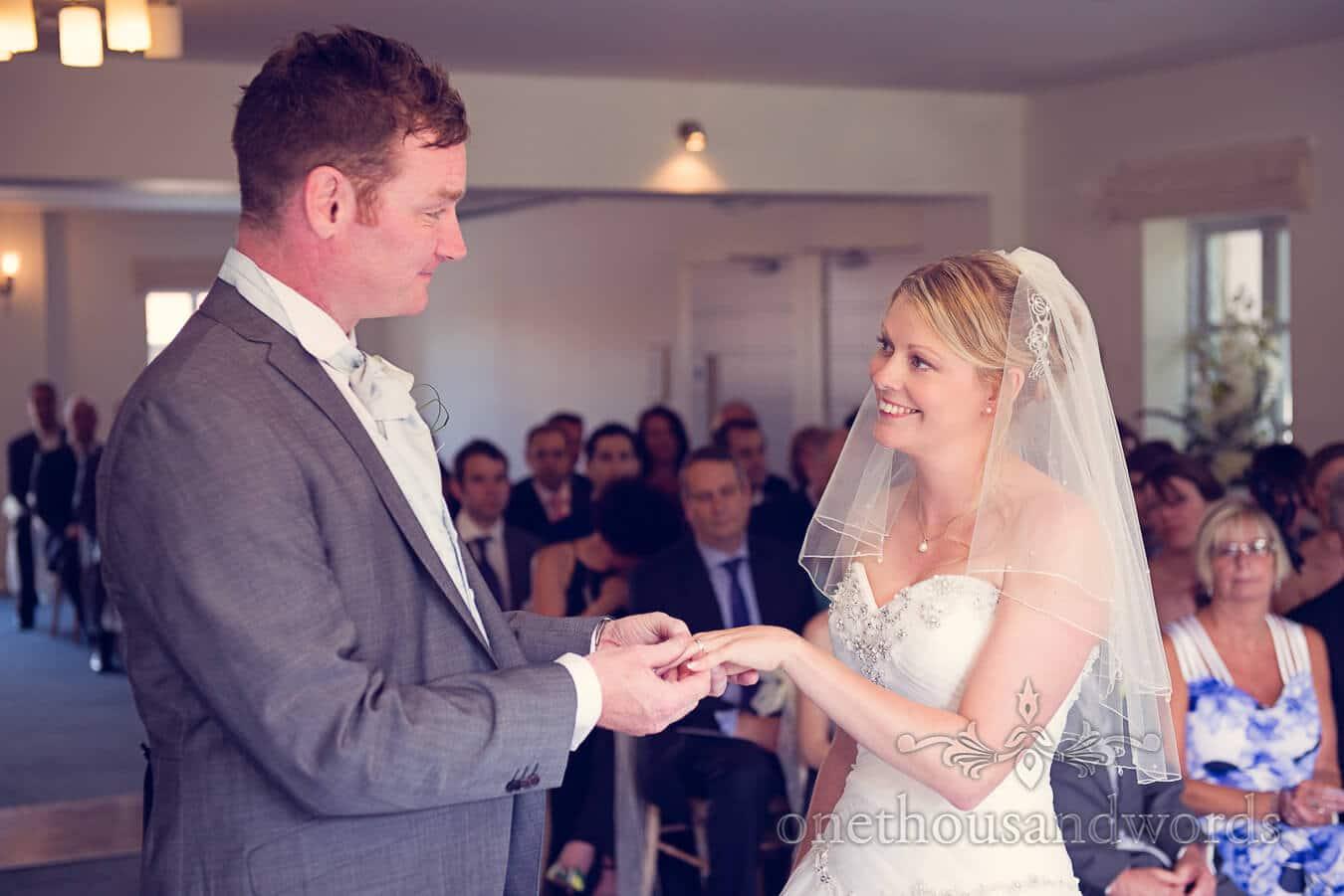 Exchange of wedding rings at Italian Villa Wedding ceremony