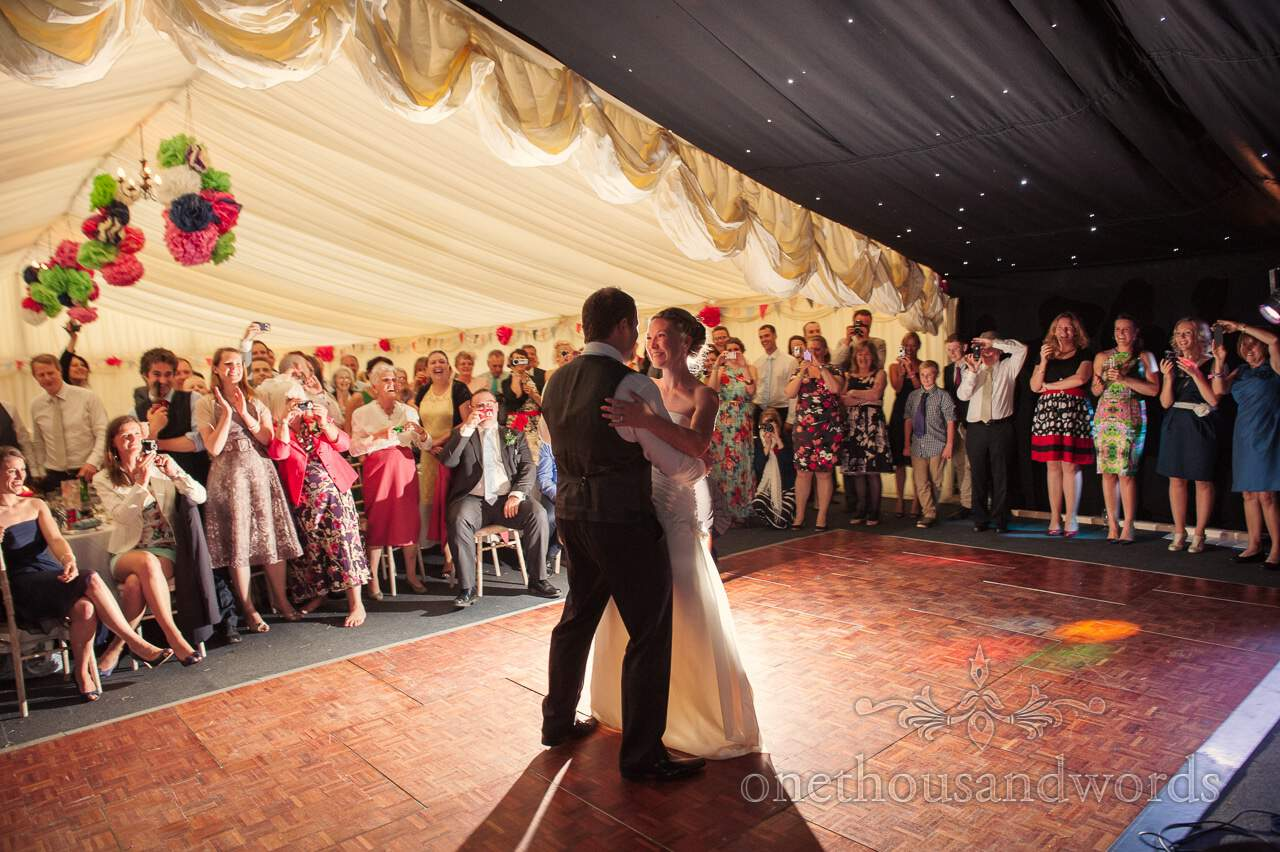First dance from countryside marquee wedding photographs