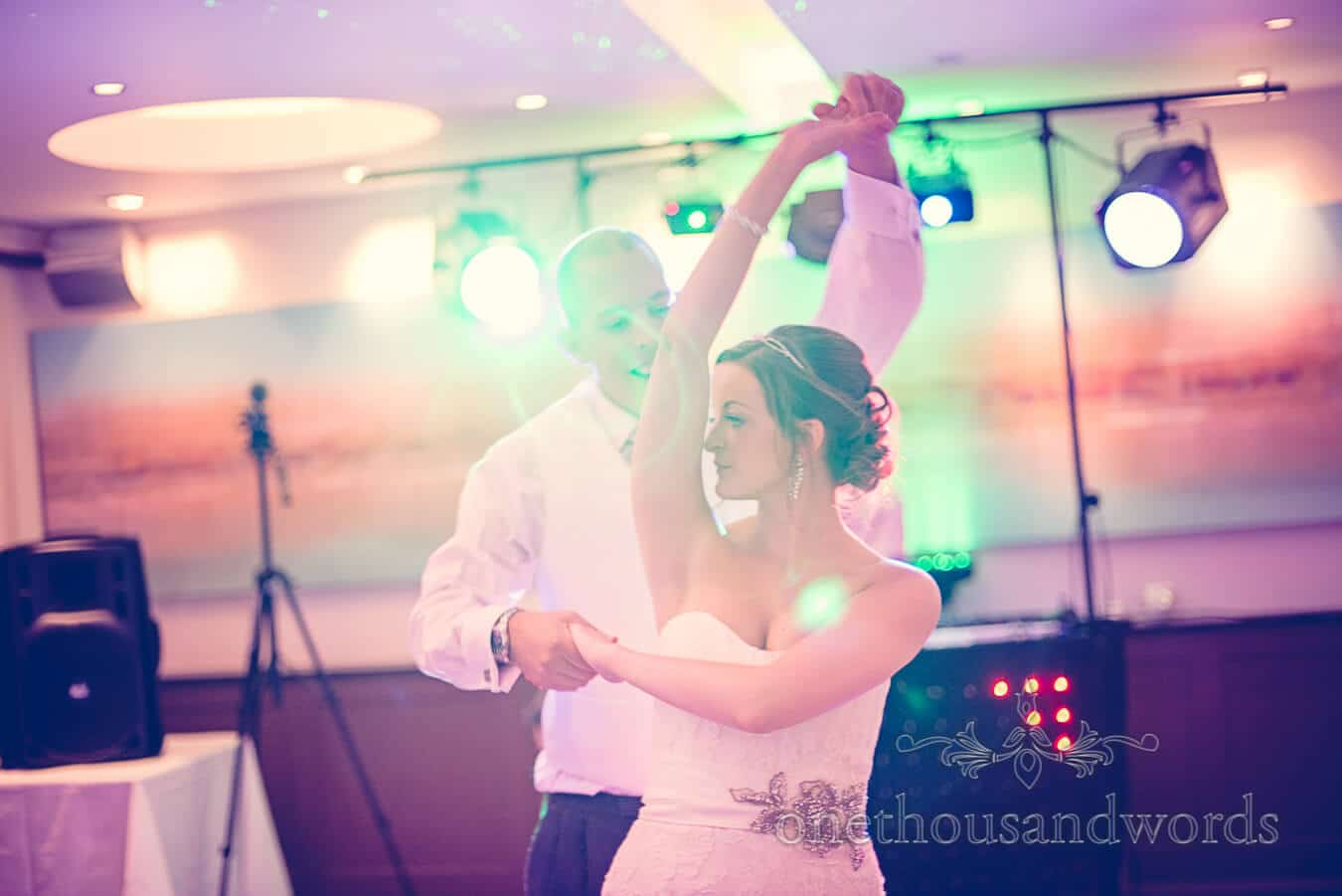 First dance withdisco lights at Harbour Heights Poole wedding venue