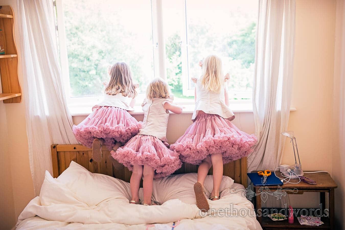 Flower girls in puffy dusty pink flower girl dresses