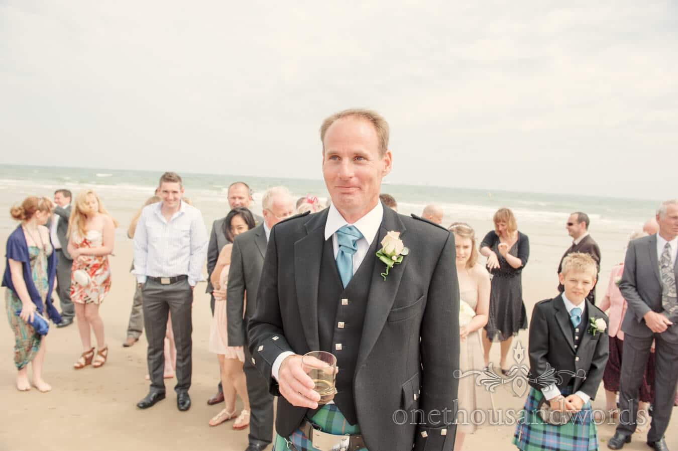 Groom at Sandbanks beach wedding