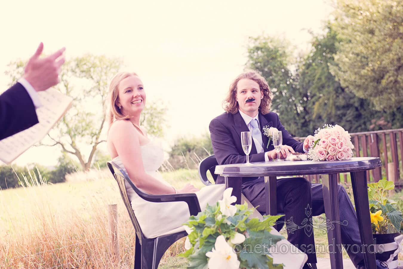 Groom in comedy moustache at Countryside Wedding Speeches