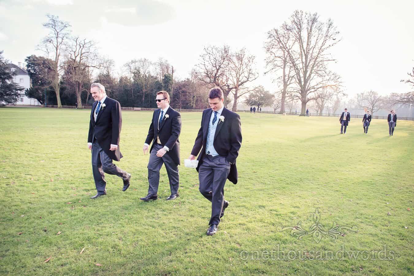 Groom walks to wedding ceremony across Richmond park