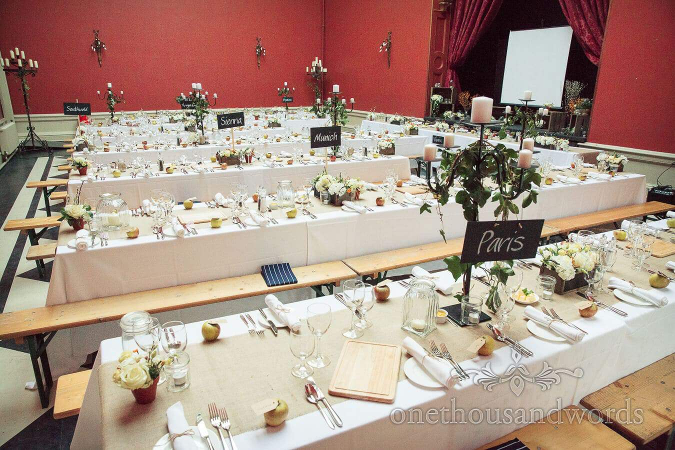 Hampton Court House Wedding Breakfast Setup