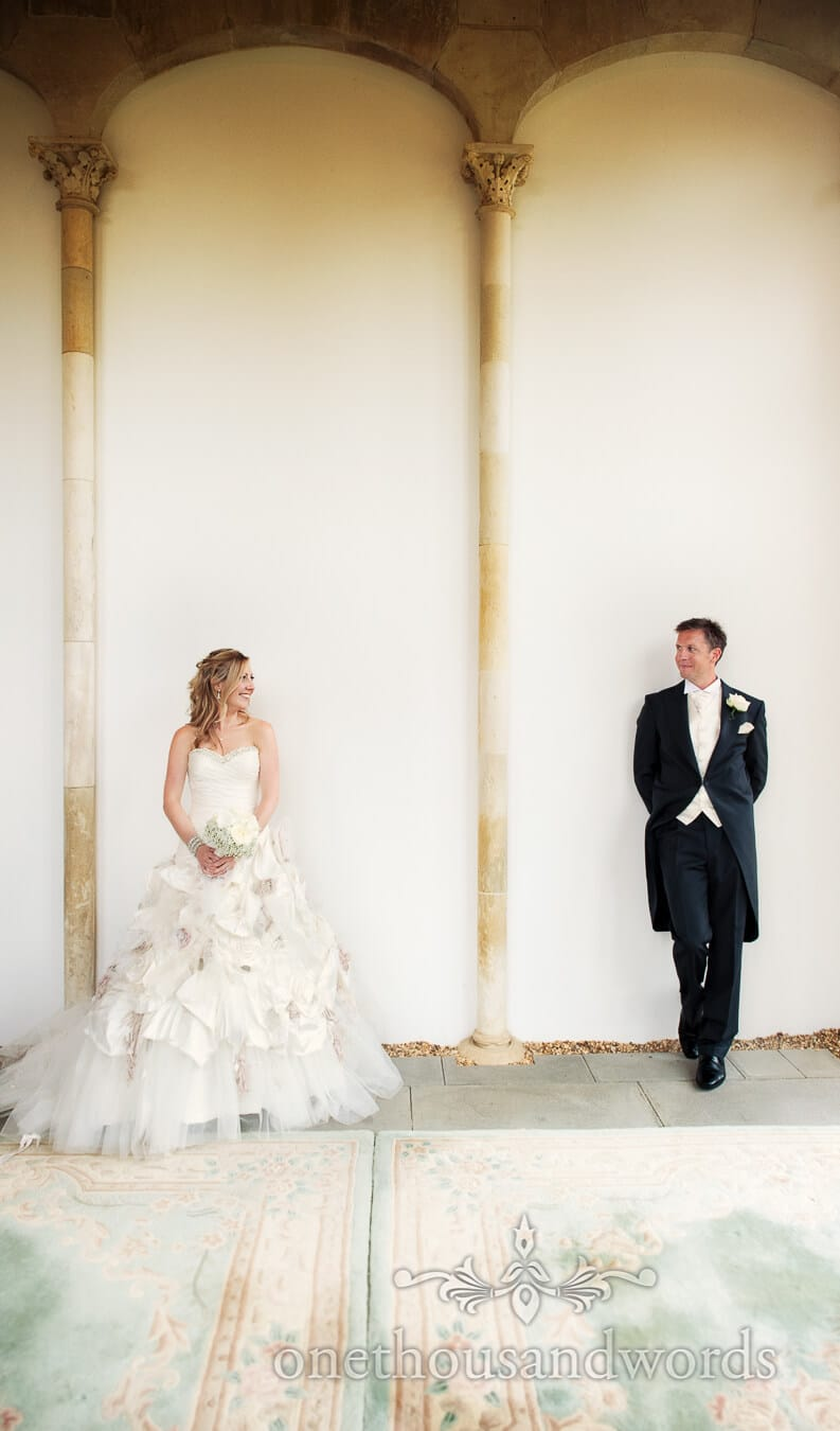 Ian Stuart Flowerbomb wedding dress at Highcliffe Castle, Dorset