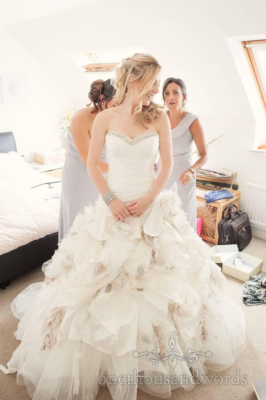 Ian Stuart Flowerbomb wedding dress on Highcliffe Castle wedding morning