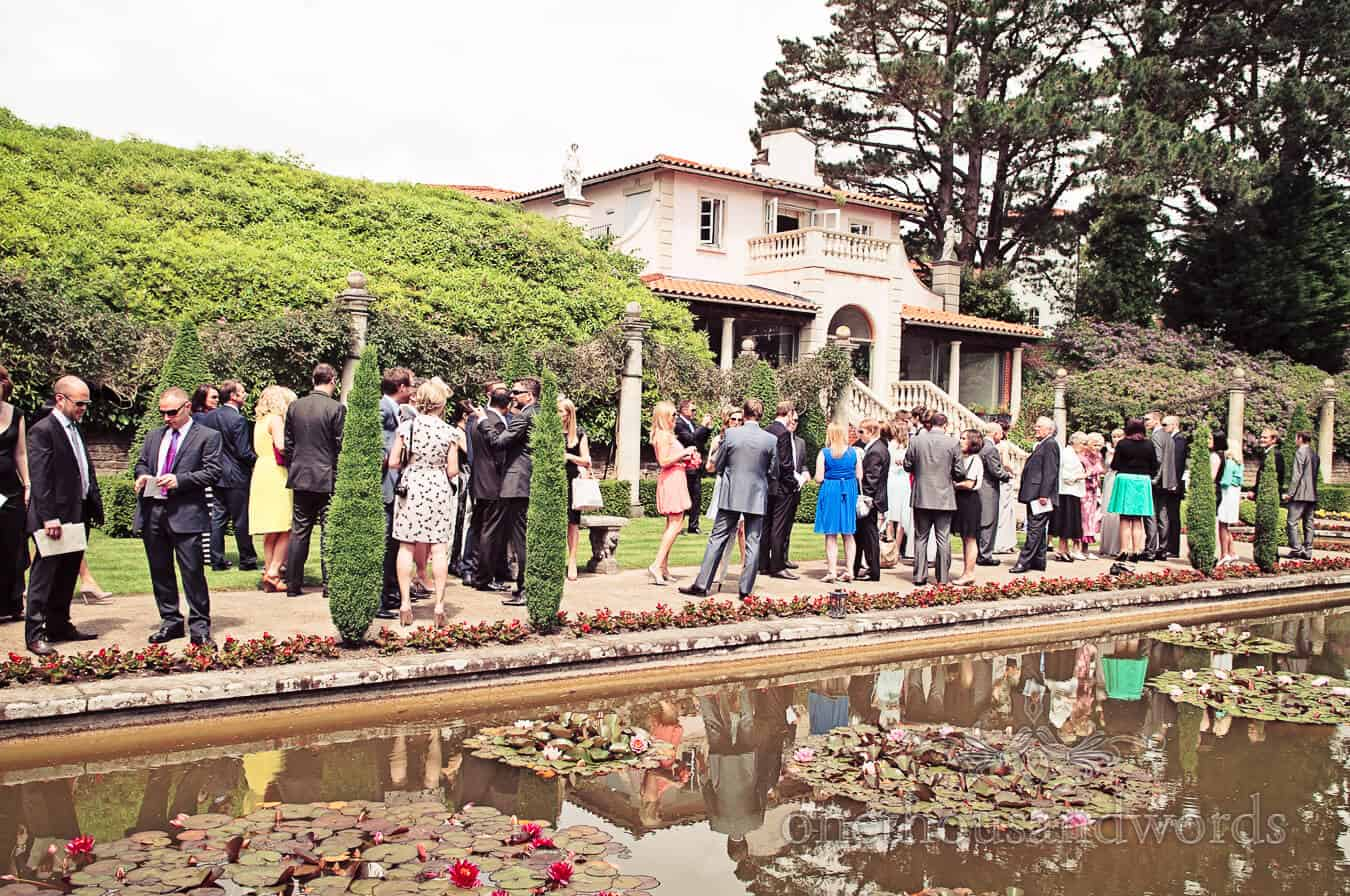 Italian Villa Wedding venue in Dorset drinks reception photographs