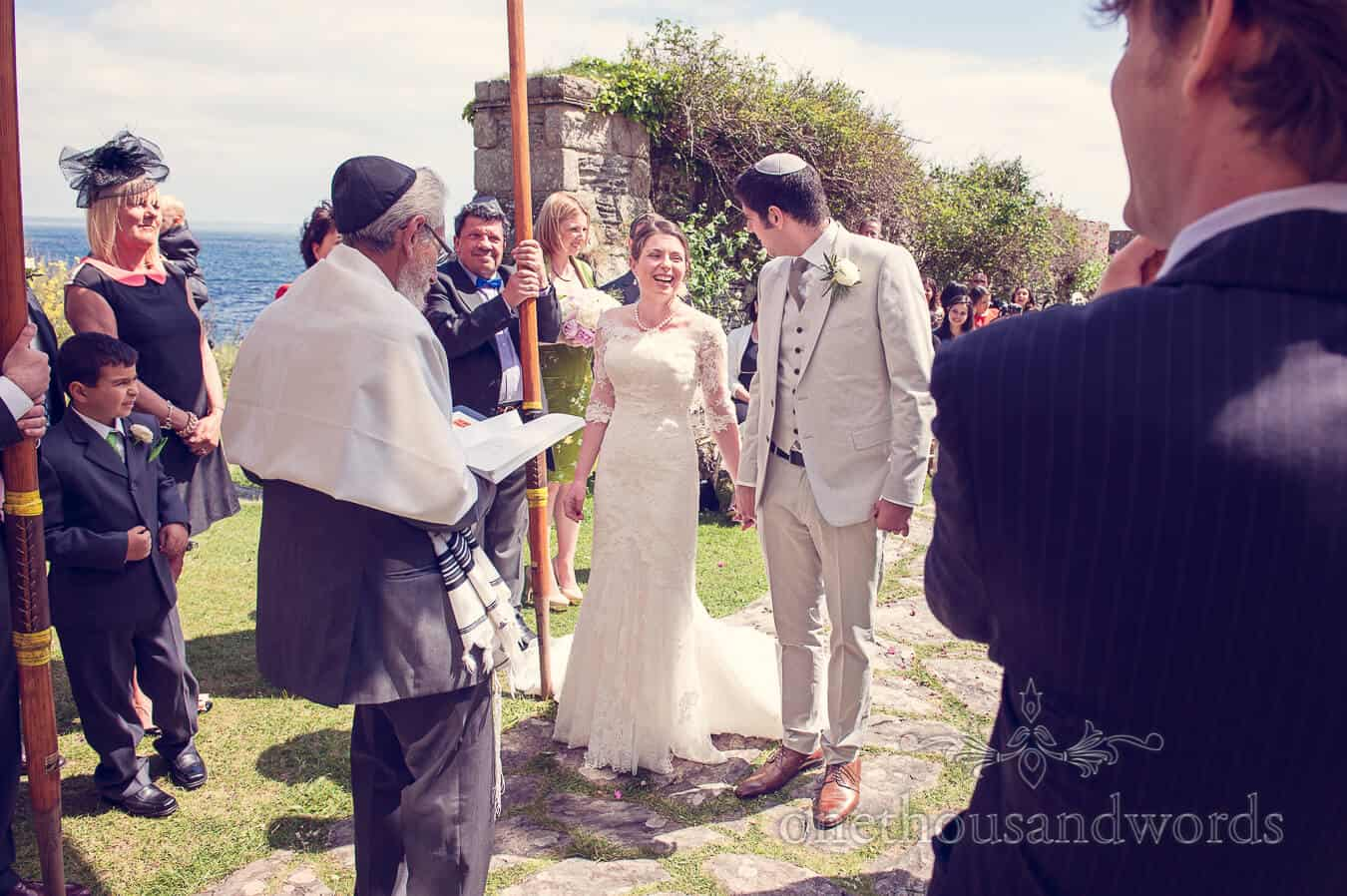 Jewish wedding ceremony by the sea at Prussia Cove Wedding