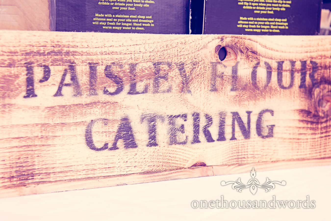 Paisley Flour Catering wedding caterers wooden box with logo stamp